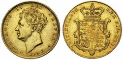 Gold sovereign George IV Crowned arms gold coin